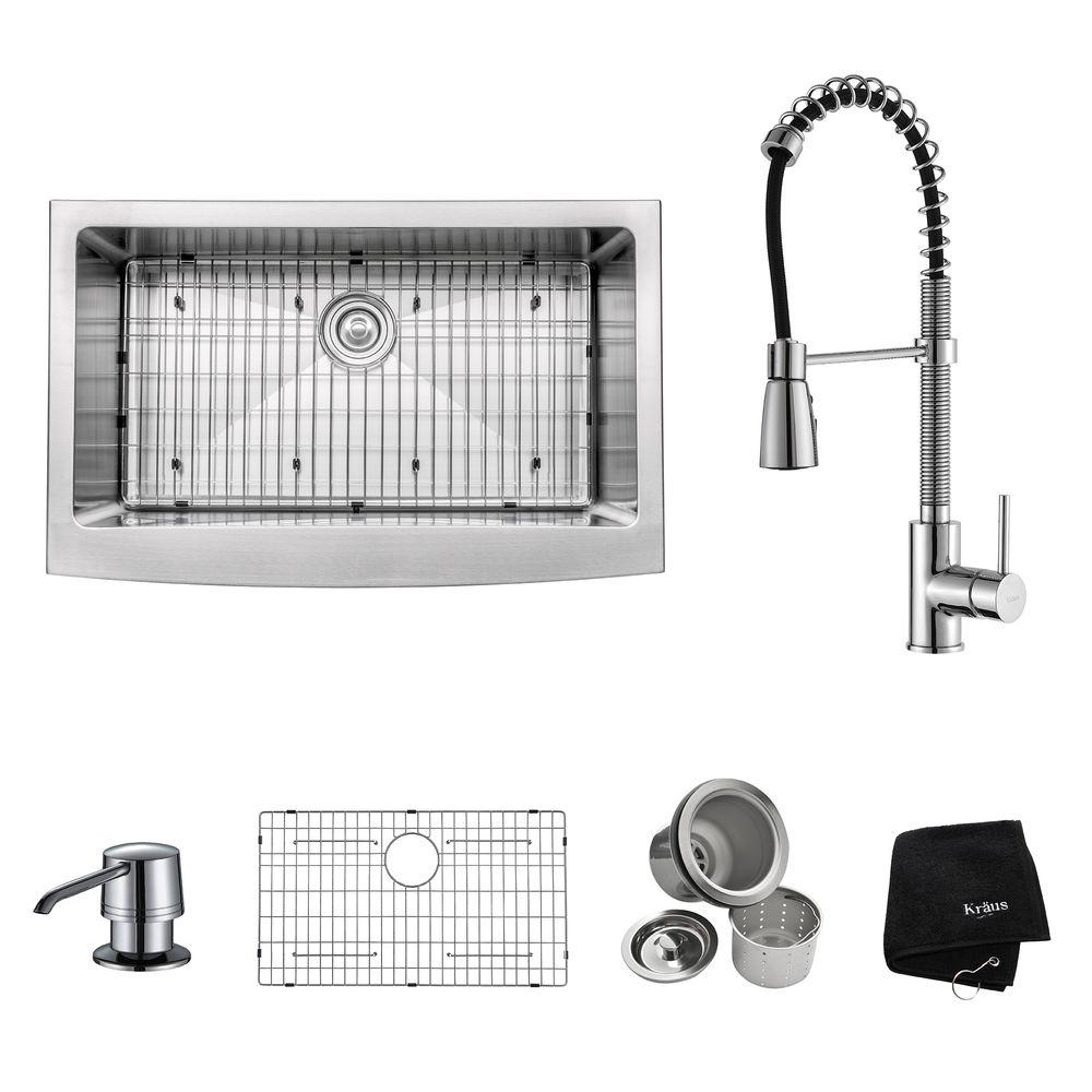 KRAUS All-in-One Farmhouse Apron Front Stainless Steel 33 in. Single Bowl Kitchen Sink with Faucet in Chrome