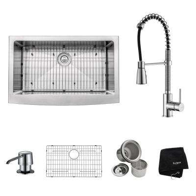 All-in-One Farmhouse Apron Front Stainless Steel 33 in. Single Bowl Kitchen Sink with Faucet and Accessories in Chrome