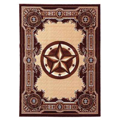 Traditions Western Star Chocolate 5 ft. x 7 ft. Indoor Area Rug