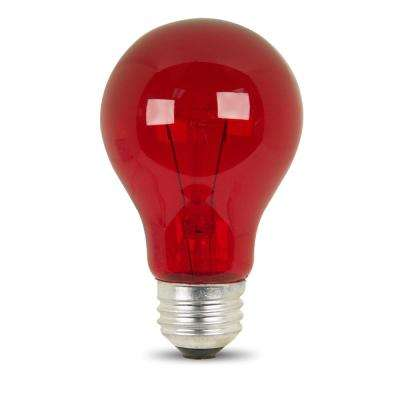 25-Watt Red A19 Dimmable Incandescent Party Light Bulb (Case of 24)
