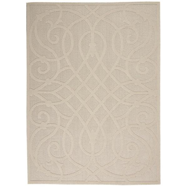 Nourison Palamos Cream 4 Ft X 6 Ft Geometric Contemporary Indoor Outdoor Area Rug 774545 The Home Depot