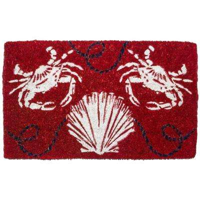 Sand Crabs 18 in. x 30 in. Hand Woven Coconut Fiber Door Mat