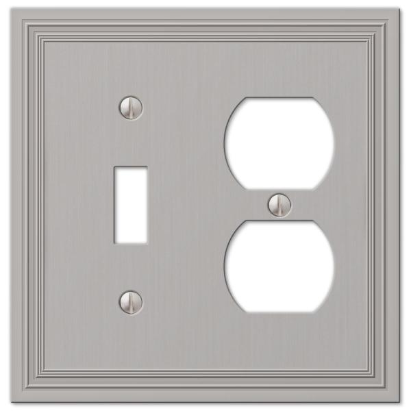 Hallcrest 2 Gang 1-Toggle and 1-Duplex Metal Wall Plate - Satin Nickel
