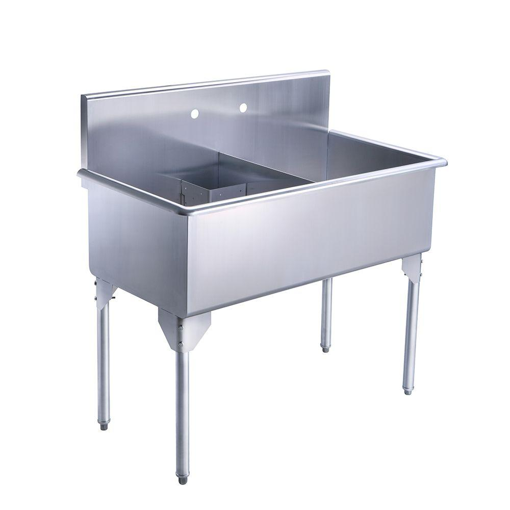 Whitehaus Collection Pearlhaus All In One Freestanding Stainless Steel  43 1/8