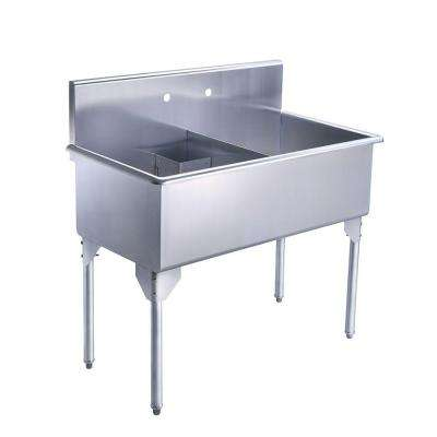 Pearlhaus All-in-One Freestanding Stainless Steel 43-1/8 in. 2-Hole Double Bowl Kitchen Sink in Brushed Stainless Steel