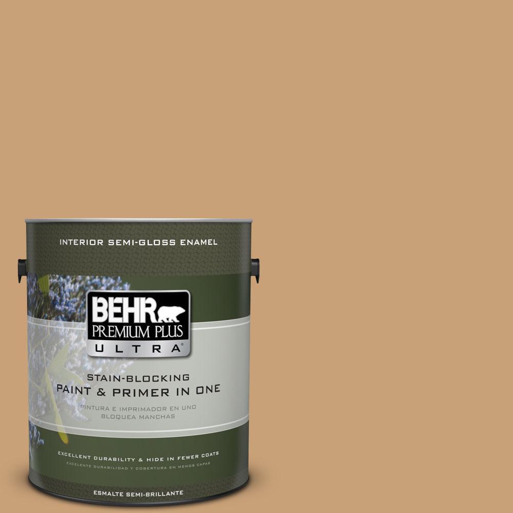 BEHR Premium Plus Ultra 1-gal. #BXC-70 Fresh Sawdust Semi-Gloss Enamel Interior Paint