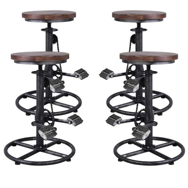 Bicycle Adjustable Silver Brushed Gray Barstool (Set of 4)