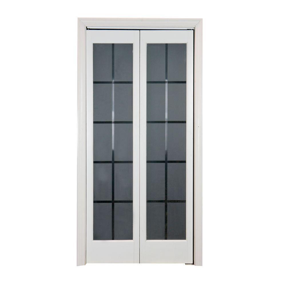Pinecroft 32 in. x 80 in. Colonial Glass Wood Universal/Reversible Interior Bi-fold Door