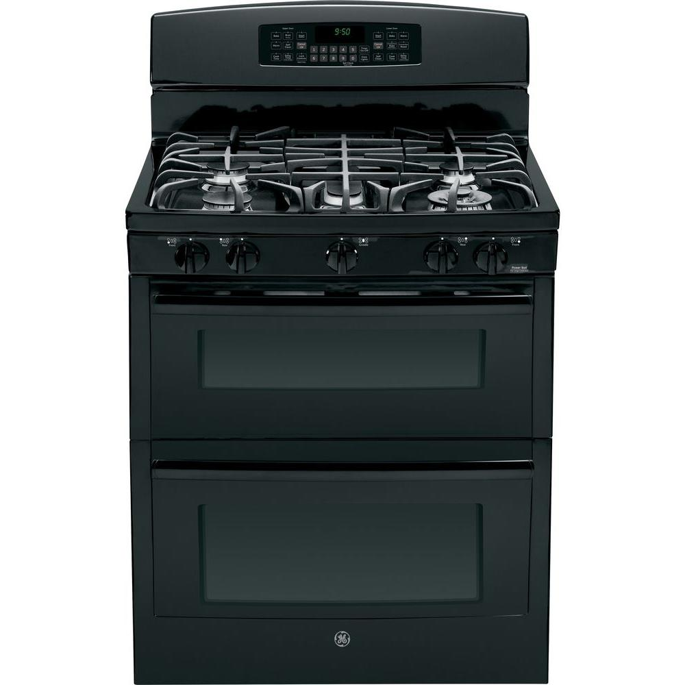GE Profile 6.8 cu. ft. Double Oven Gas Range with Self-Cleaning Convection Lower Oven in Black