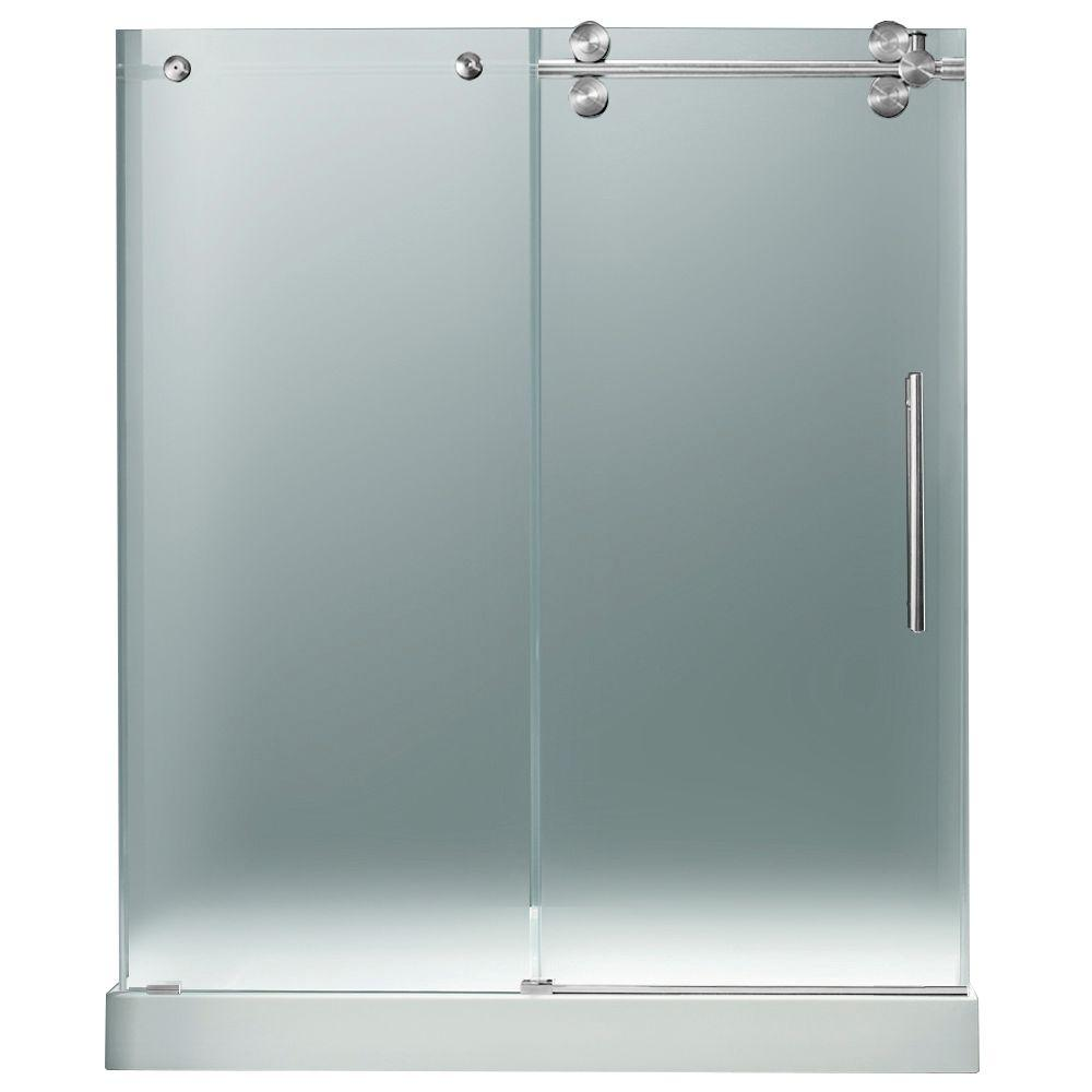 Vigo 59.75 in. x 74 in. Frameless Pivot Shower Door in Chrome with Frosted Glass and with White Base with Center Drain