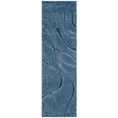 Florida Shag Light Blue/Blue 2 ft. 3 in. x 7 ft. Runner