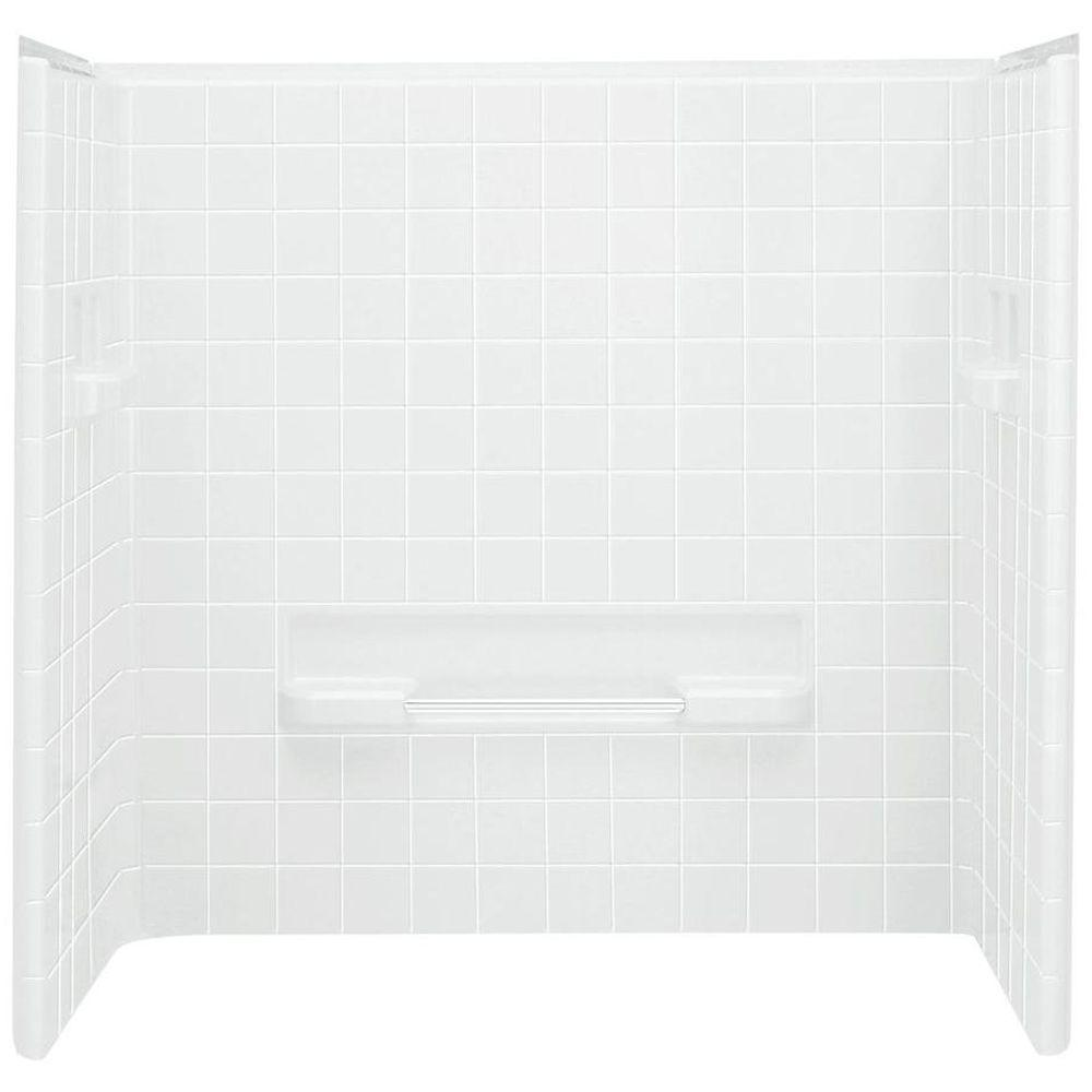 Tilekit 30 in. x 60 in. x 60 in. 3-Piece Easy Up Adhesive Tub Wall ...