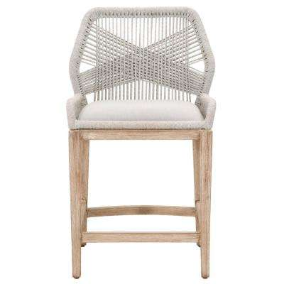 Loom 26 in. Taupe and White Flat Rope, Natural Gray Mahogany Counter Stool