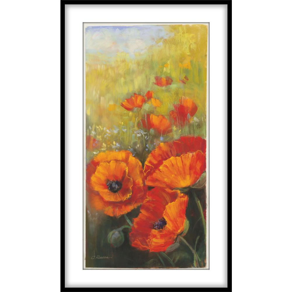 Orange Poppy Panel Framed Wall Art 1 75807 The Home Depot