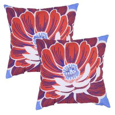 Periwinkle Flower Square Outdoor Throw Pillow (2-Pack)
