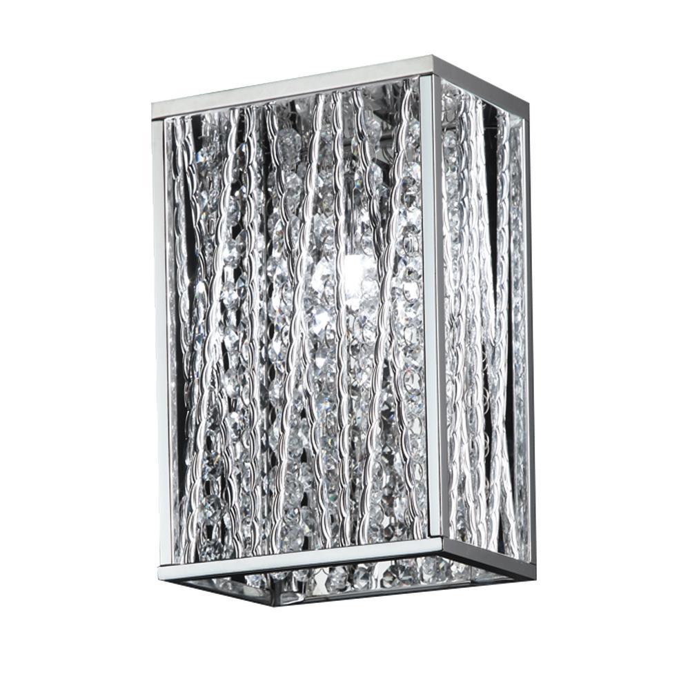 1-Light Chrome Sconce with Chrome Aluminum