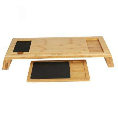 Bamboo Monitor Stand with Black Mouse Pad for Laptop/Desktop, Brown