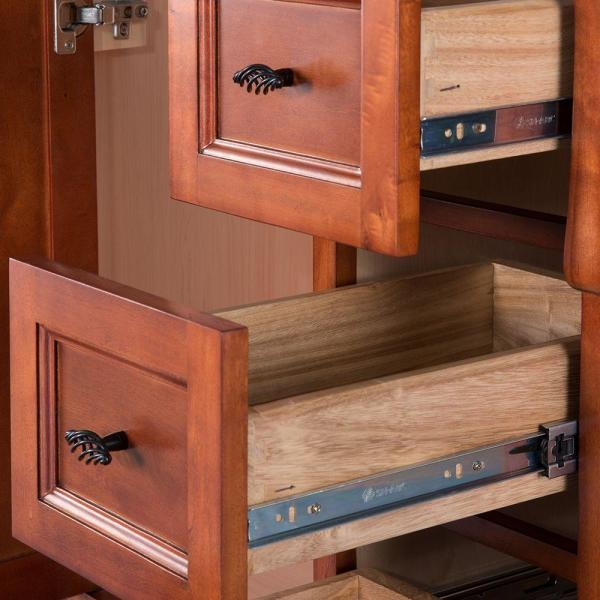 Home Decorators Collection Naples 30 In W X 21 63 In D Vanity Cabinet Only In Warm Cinnamon With Right Hand Drawers Naca3021d The Home Depot