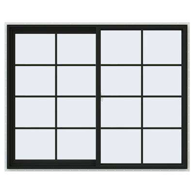 60 in. x 48 in. V-2500 Series Bronze FiniShield Vinyl Left-Handed Sliding Window with Colonial Grids/Grilles