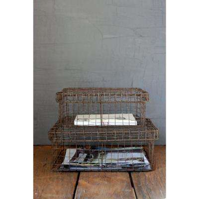 Rectangle Wire Baskets with Lids (Set of 2)