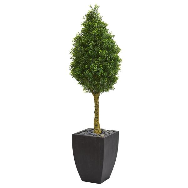 Nearly Natural 5 ft. High Indoor/Outdoor Boxwood Cone Artificial Tree in