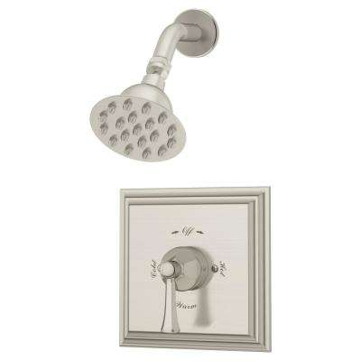 Canterbury 1-Handle Wall Mounted Shower Trim Kit in Satin Nickel (Valve Not Included)