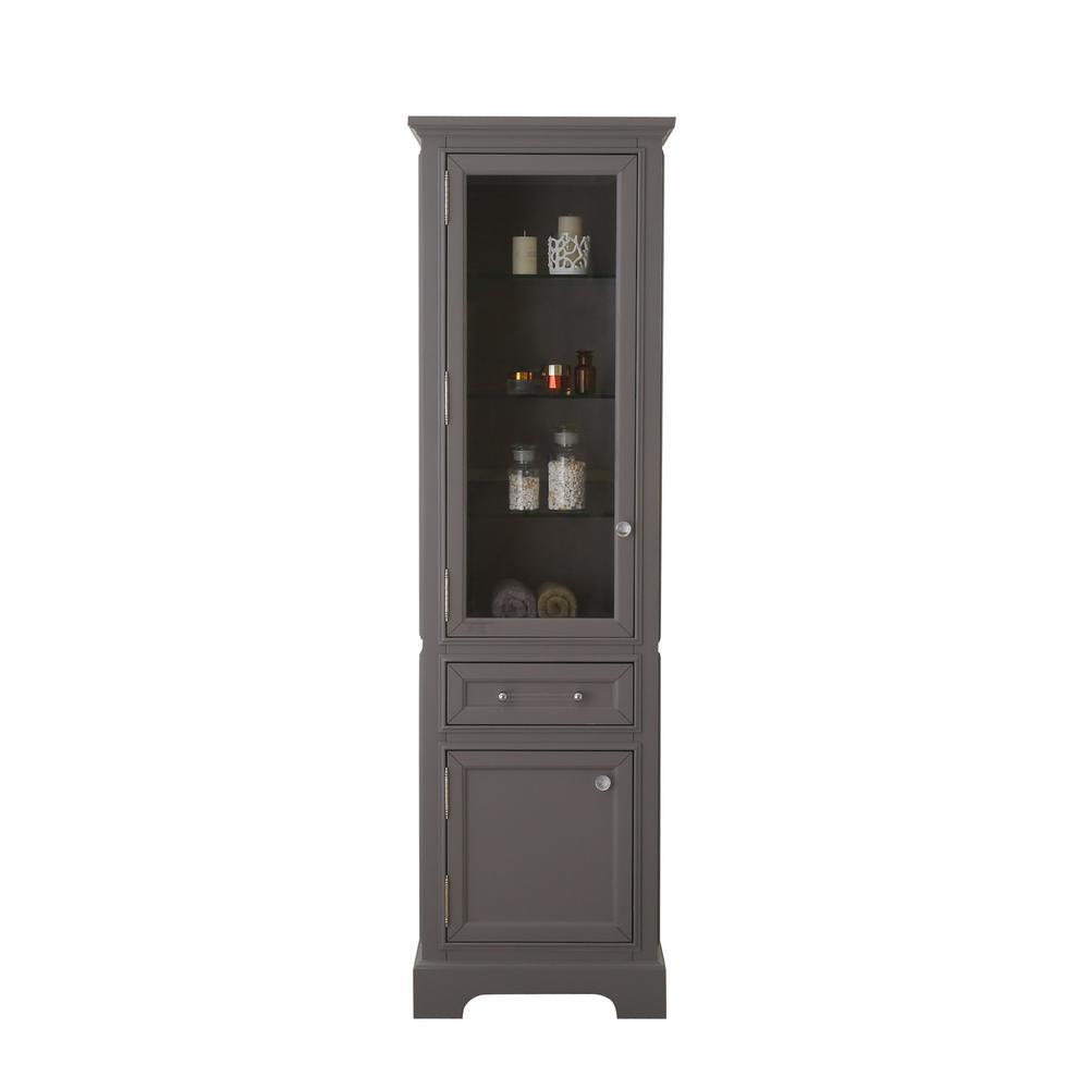 Derby 21 in. W x 17 in. D x 72 in. H Free Standing Linen Cabinet in Gray