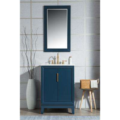 24 in. Single Sink Bath Vanity in  Carrara White Marble Vanity Top in Monarch Blue w/ Mirror and Lavatory Faucet