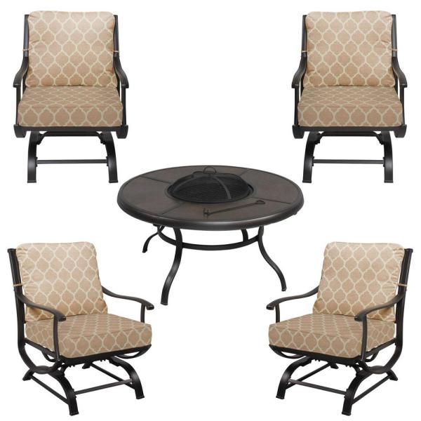 Redwood Valley Black 5-Piece Steel Outdoor Patio Fire Pit Seating Set with CushionGuard Toffee Trellis Tan Cushions