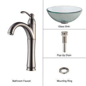 Kraus Glass Vessel Sink with Single Hole Single-Handle High-Arc Riviera Faucet in Satin Nickel by KRAUS