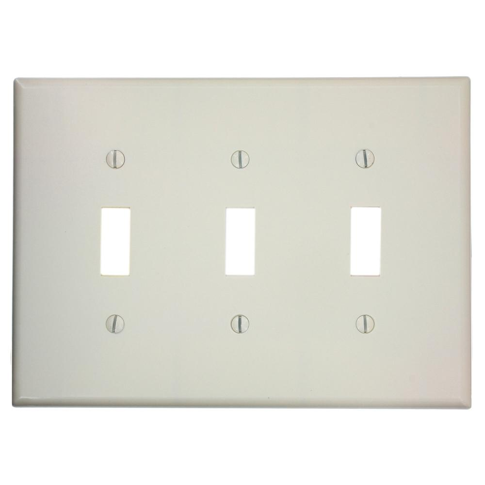 Leviton 3 Gang Midway Toggle Switch Wall Plate Light Almond