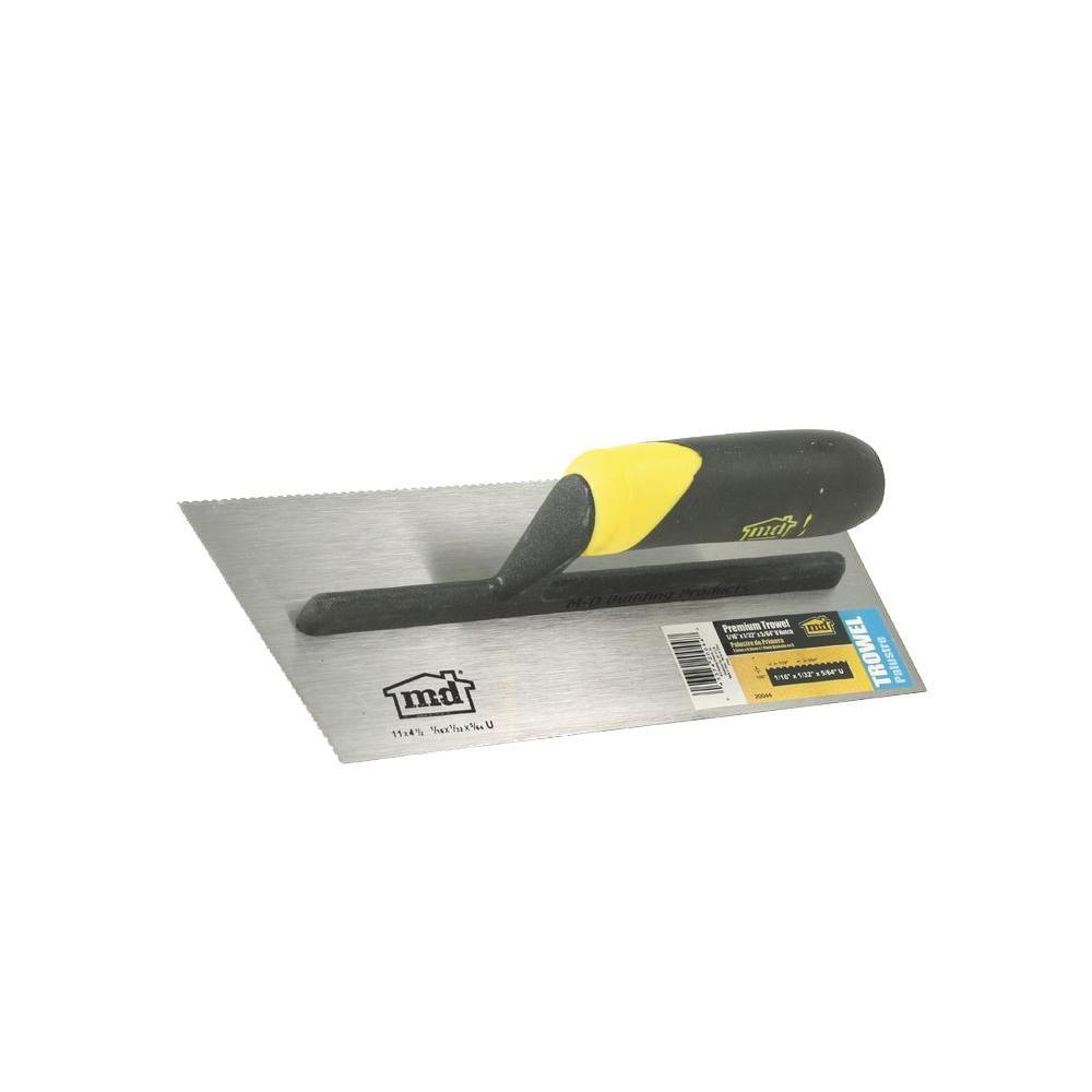 11 in. U-Notch Stainless Steel Flooring Trowel with Comfort Grip