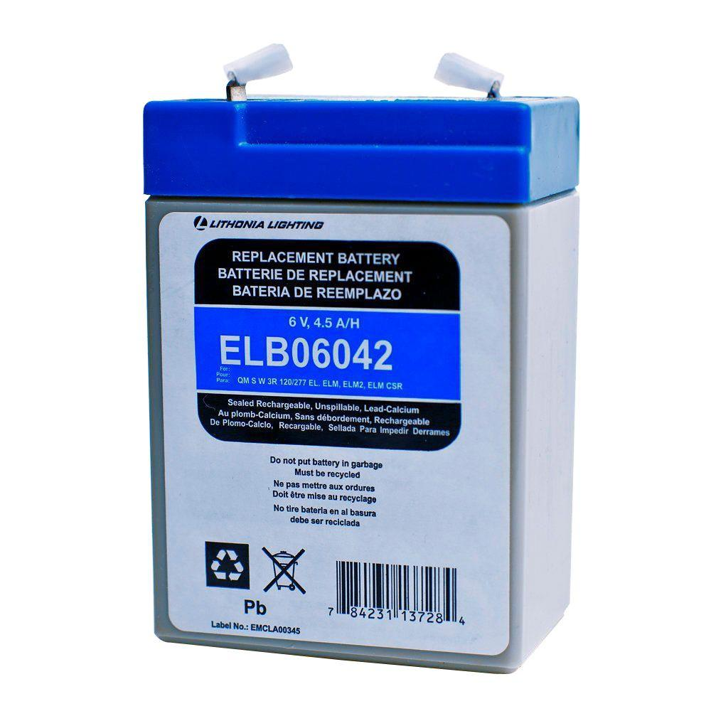 Lithonia Lighting 6-Volt Lead-Calcium Plastic Replacement Battery for Emergency/Exit Lighting
