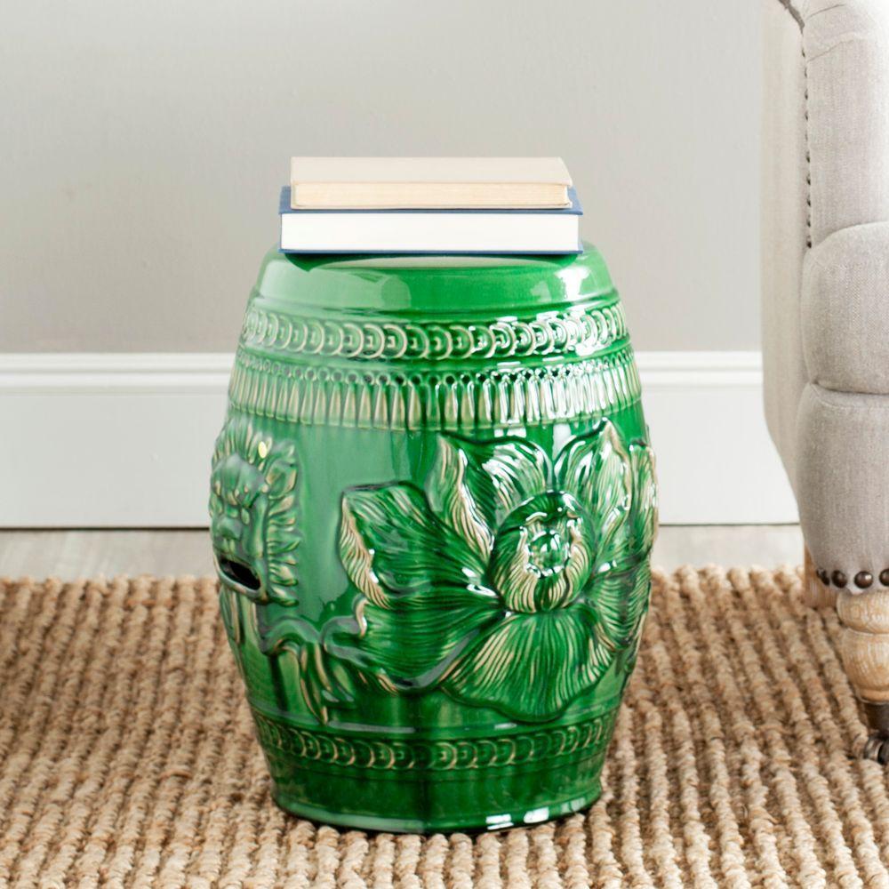 Chinese Dragon Green Ceramic Garden Stool
