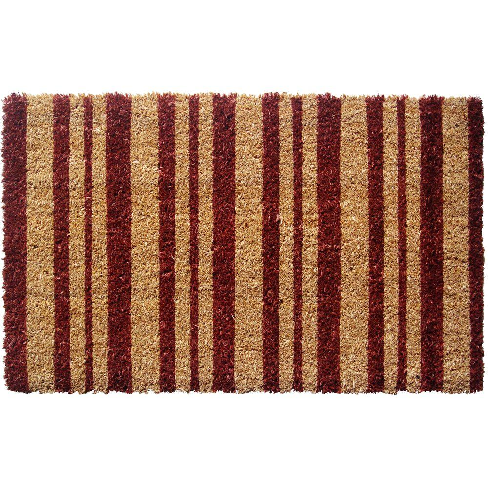 Entryways Burgundy Stripes 18 in. x 30 in. Extra Thick Hand Woven Coconut Fiber Door Mat