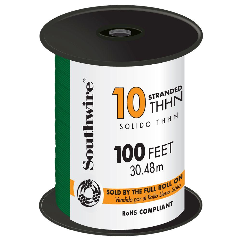 100 ft. 10 Green Stranded CU THHN Wire