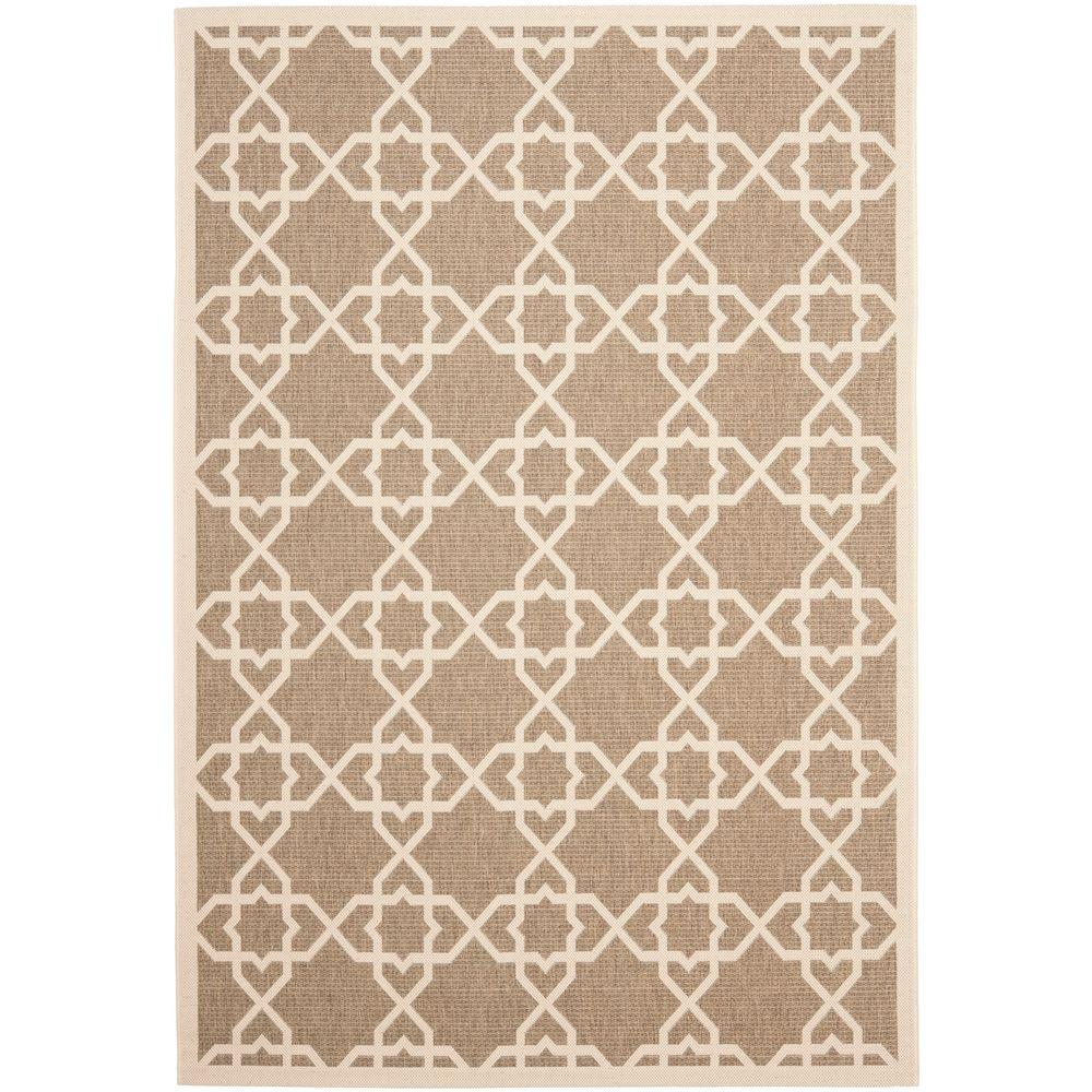Courtyard Brown/Beige 9 ft. x 12 ft. Indoor/Outdoor Area Rug