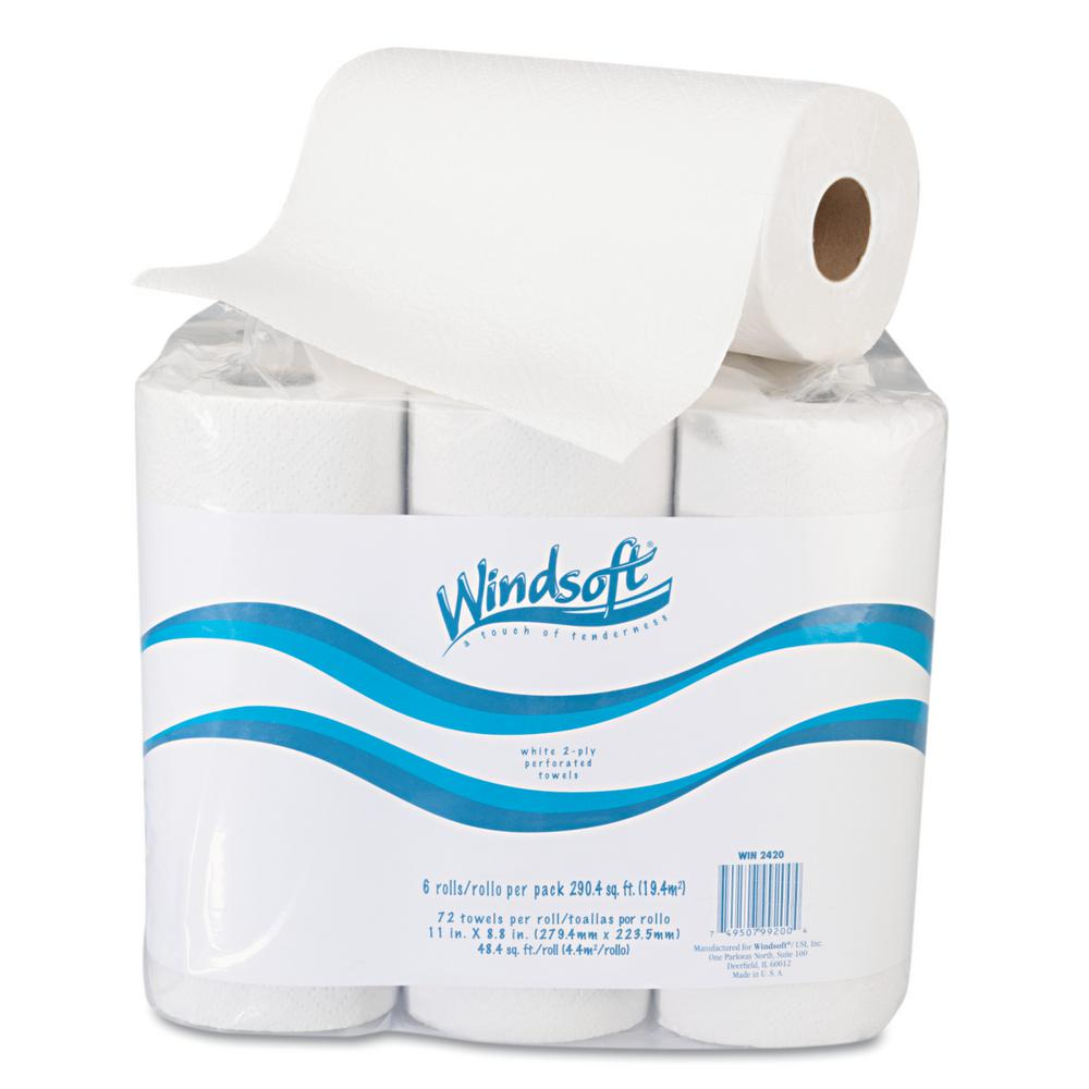 Scott Lint Free Paper Towels: Windsoft Paper Towel Roll, 11 In. X 8 4/5 In., White, 72