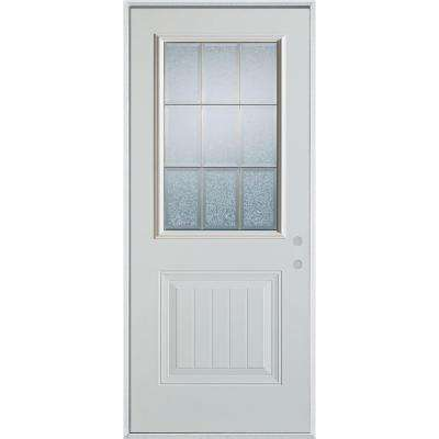 32 in. x 80 in. Geometric Glue Chip and Brass 1/2 Lite 1-Panel Painted Left-Hand Inswing Steel Prehung Front Door