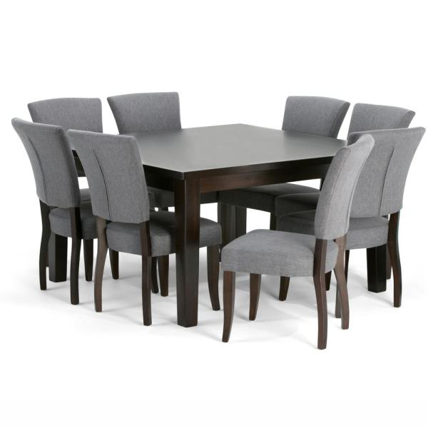 Simpli Home Joseph 9 Piece Dining Set With 8 Upholstered Dining