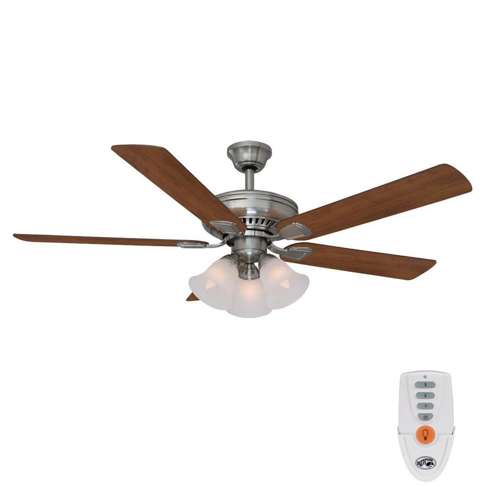 Hampton Bay Campbell 52 in. Indoor Brushed Nickel Ceiling Fan with Light Kit and Remote Control