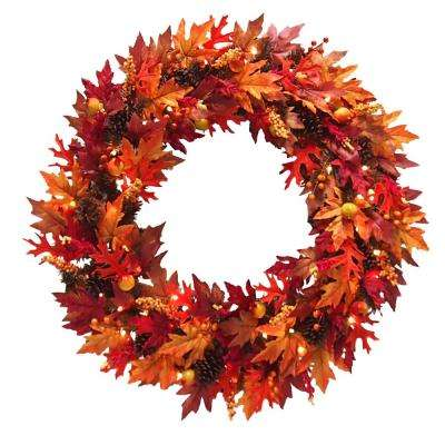 36 in. Maple Wreath with Clear Lights