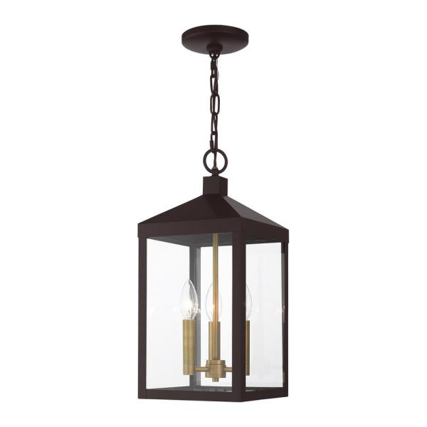Nyack 3 Light Bronze with Antique Brass Cluser Outdoor Pendant Lantern