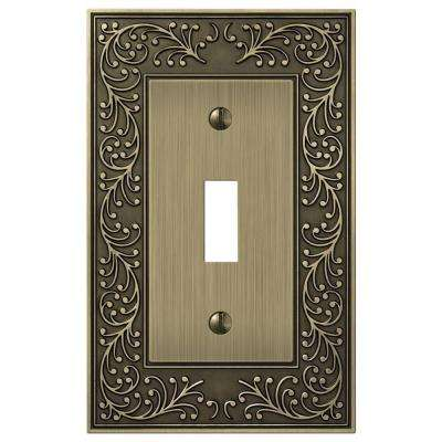 Bleinhem 1 Toggle Wall Plate - Brushed Brass Cast