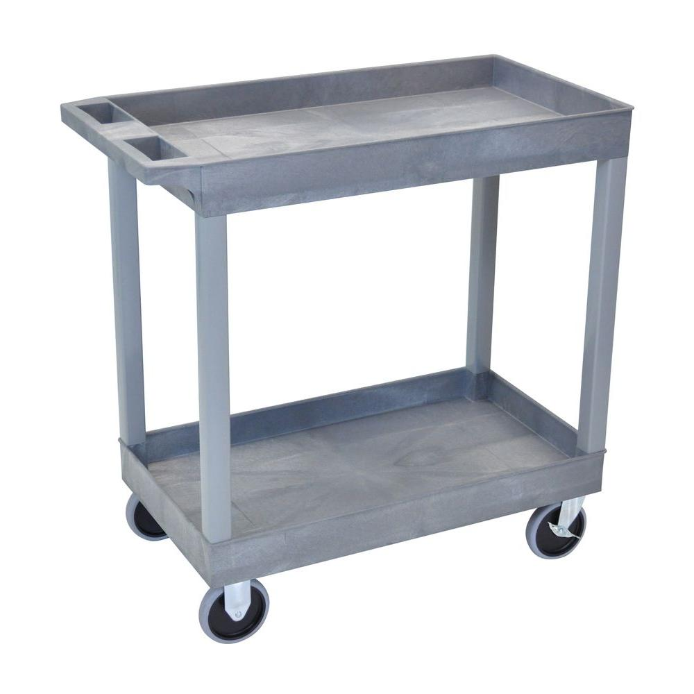 18 in. x 35 in. 2-Tub Shelf Utility Cart, Gray