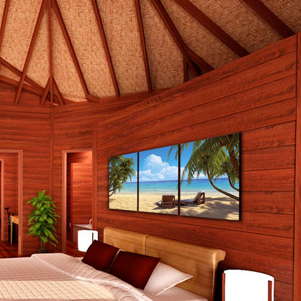 """Furinno Furinno 20 in. x 60 in. """"Coconut Tree and Chair"""" Printed Canvas Wall Art, n/a"""