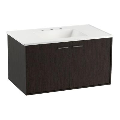 Jute 36 in. Vanity in Satin Oak with Vitreous China Vanity Top in White with Filler Strip