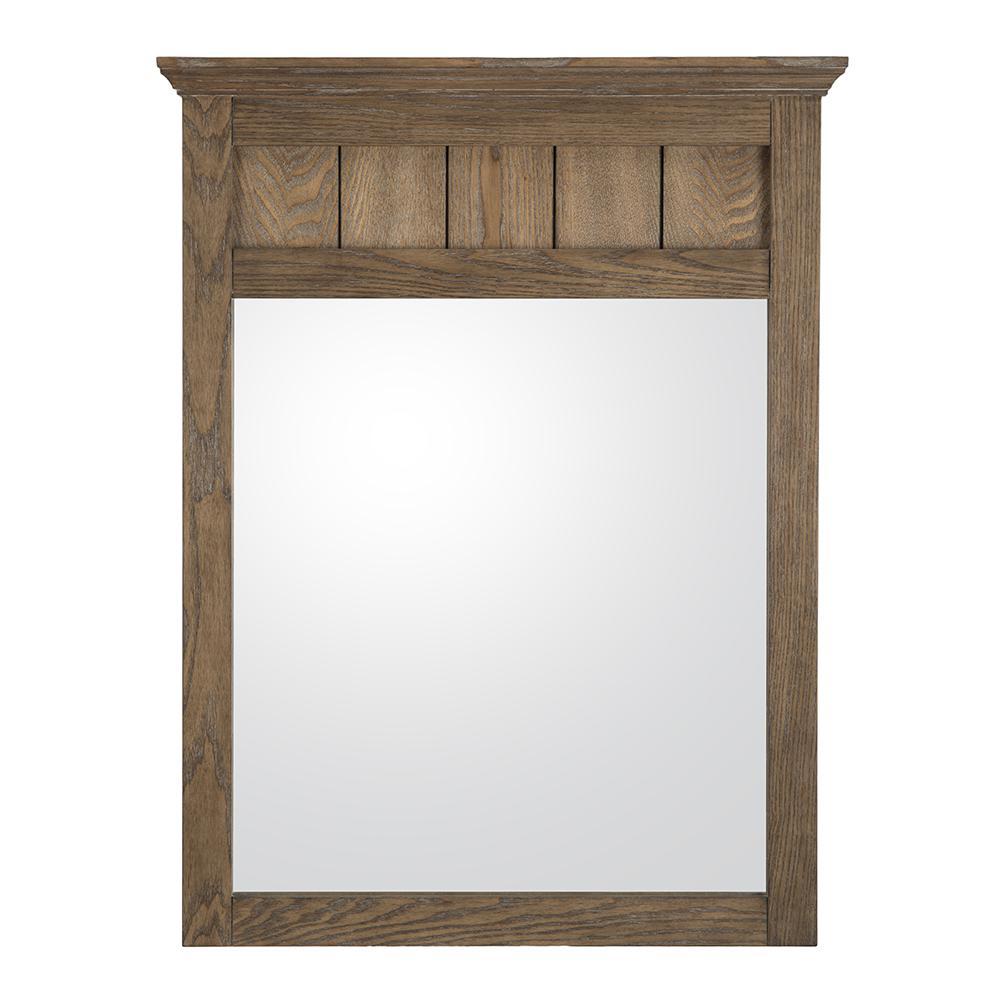 Stanhope 24 in. x 31 in. Framed Wall Mirror in Reclaimed Oak