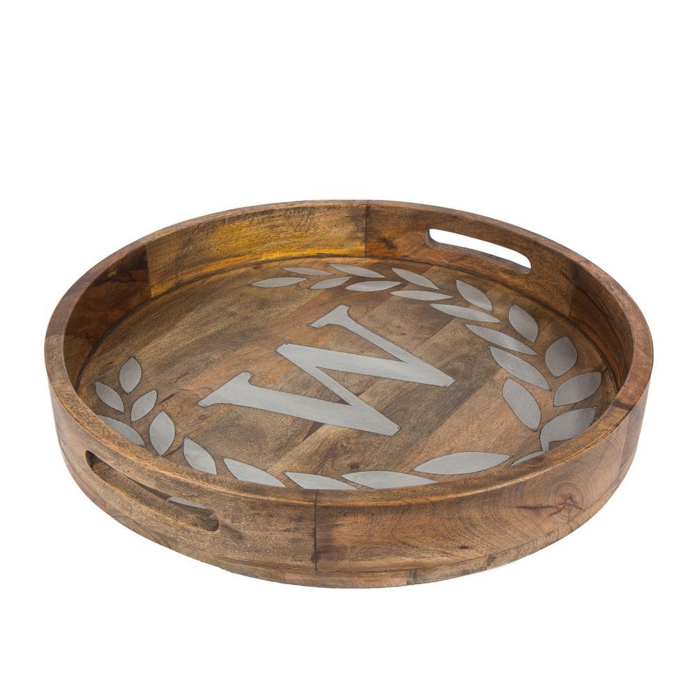 """20 in. D Mango Wood Round Tray """"W"""""""