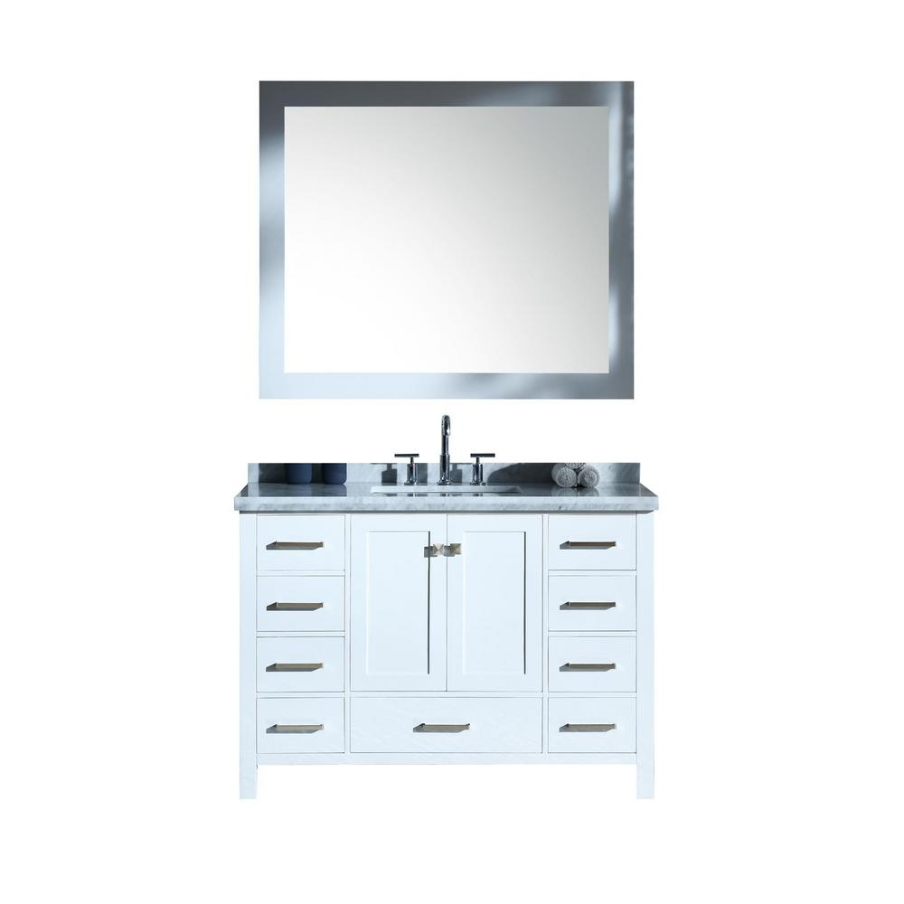 Ariel Cambridge 49 in. Bath Vanity in White with Marble Vanity Top in Carrara White with White Basins and Mirror